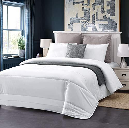 AusGolden King Quilted Comforter 100% Australian Wool Comforter Duvet with Organic Cotton Cover All-Season Hypoallergenic Plush Microfiber Washable Alternative Bedding