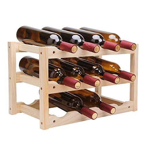 Estante para botellas de vino copas vino encimera Botellero, 3-nivel de almacenamiento del producto 12 Botellas soporte de presentación de Estantes con patas sin bamboleos color natural, for la sala d