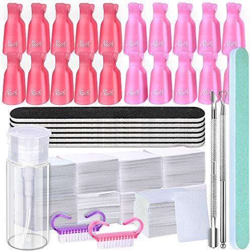 Gel Nail Polish Remover Tool Kit, 20Pcs Plastic Nail Clip, 550Pcs Nail Wipe Cotton Pads, 120ml Push Down Empty Bottle Dispenser, 7Pcs Nail File Grit 100/180, 2 Nail Brush, and 2 Cuticle Pusher Peeler