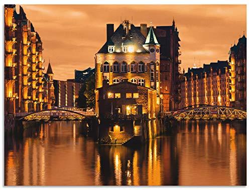 Artland Wandbild Alu für Innen & Outdoor Metall Bild 80x60 cm Städte Deutschland Hamburg Fotografie Orange Speicherstadt in Hamburg S6DS