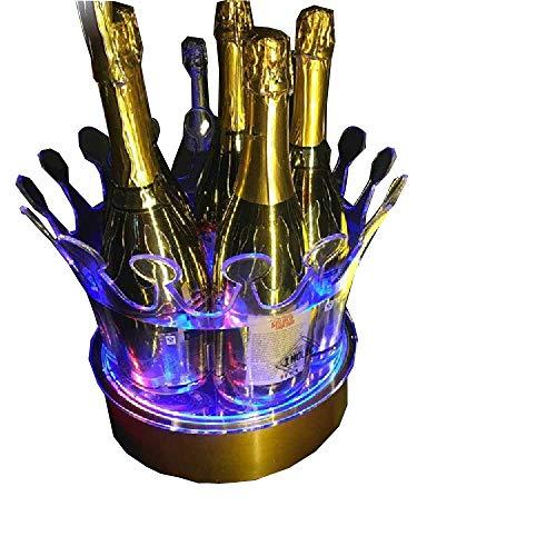Ijsemmer LED Ijsemmer Oplaadbare Kleur Veranderende Wijnkoeler Kroon Champagne Wijnhouder Drankjes Bier Wijnrek Bar/Bruiloft/Thuis Party 27X35 cm/Blauw