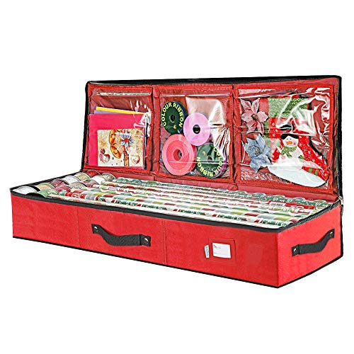 """Primode Wrap Storage Bag for 40 Inch Wrapping Paper, Ribbon and Bows Organizer, 41""""x 14""""x 6 Wrap Storage Box Container Durable 600D Oxford Material Underbed Storage (Red)"""