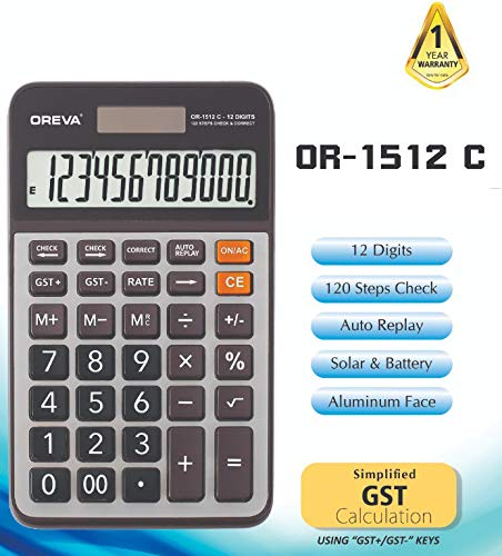 Oreva OR-1512 Check & Correct GST Calculator (Black)