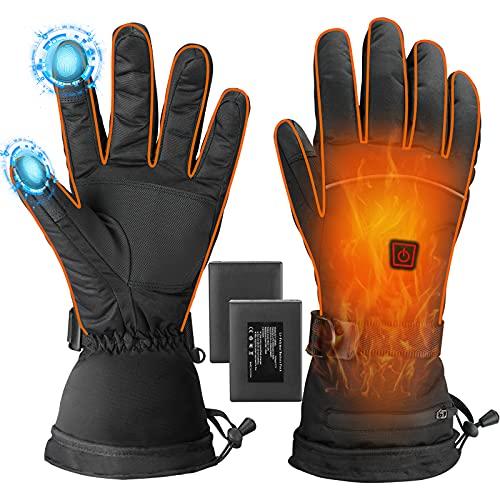 Kuaided Beheizte Handschuhe, Beheizbare Handschuhe für Herren und Damen, Akku Beheizt Winterhandschuhe mit 3 Wärmestufen, Warme Winddicht Touchscreen Skihandschuhe für Skisport Motorrad Fahrrad (XL)