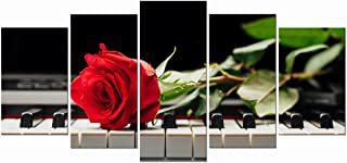 Wieco Art Red Rose on Piano Modern 5 Panels Stretched Framed Floral Giclee Canvas Prints Artwork Flowers Music Pictures Paintings on Canvas Wall Art Bedroom Kitchen Home Decorations