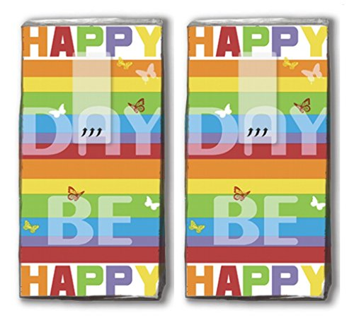 20 Taschentücher (2x 10) Colourful Day – Farbenfroher Tag / Happy Day / Be happy / Motivtaschentücher