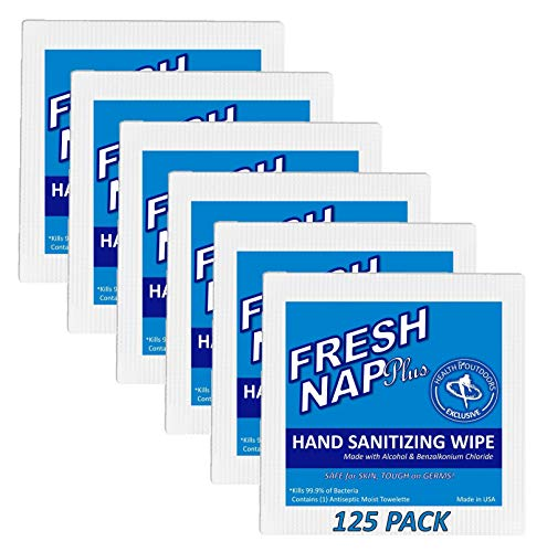 Fresh Nap Antibacterial Wipe (125 Count) Alcohol & BZK based Hand and Body Antiseptic Cleansing Disposable Prep Pads, Individually Wrapped