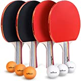 Abco Tech Ping Pong Paddle & Table Tennis Set - Pack of 4 Premium Rackets and 6 Table Tennis Balls - Soft...