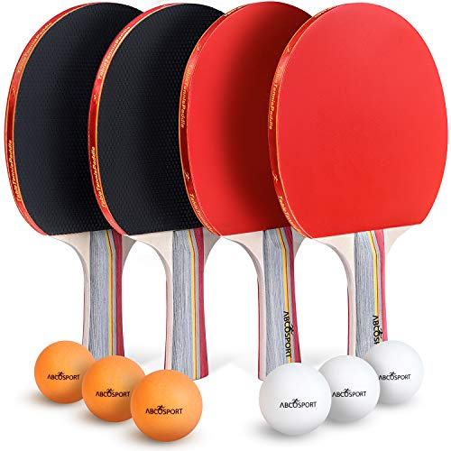 Abco Tech Ping Pong Paddle amp Table Tennis Set  Pack of 4 Premium Rackets and 6 Table Tennis Balls  Soft Sponge Rubber  Ideal for Professional and Recreational Games  2 or 4 Players 3Star