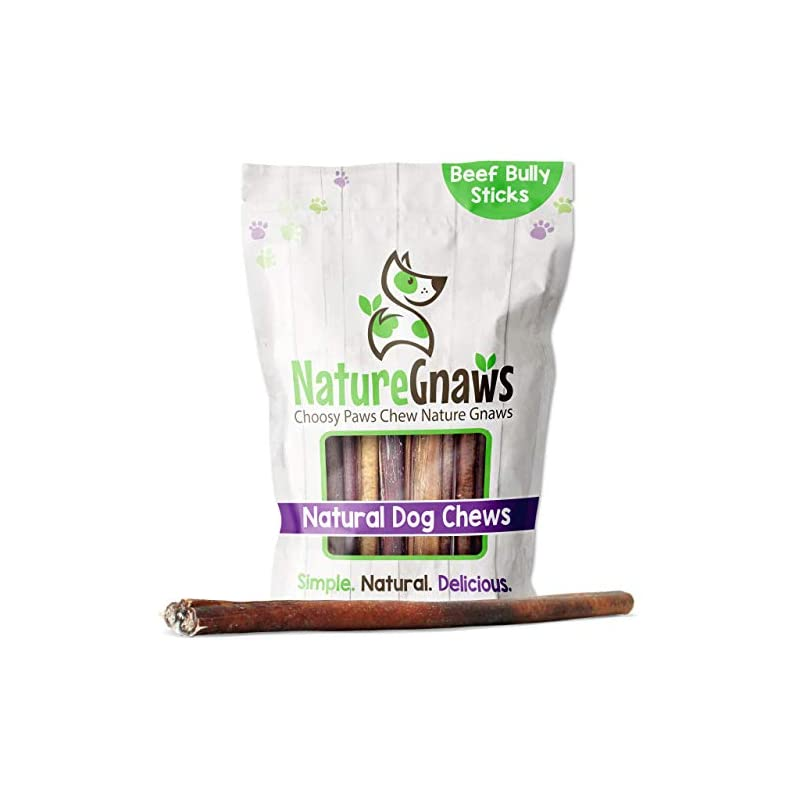dog supplies online nature gnaws bully sticks for dogs - premium natural tasty beef bones - simple long lasting dog chew treats - rawhide free - 12 inch (2 lb) - mixed thickness