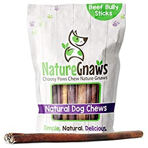Nature Gnaws Bully Sticks for Dogs – Premium Natural Tasty Beef Bones – Simple Long Lasting Dog Chew Treats – Rawhide Free – 12 Inch (8 oz) – Mixed Thickness