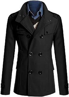 MogogoMen Warm Double-Breasted Woolen Midi Length Woolen Jacket