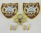 Set of The Walking Dead King County Sheriff Metal Badge Pin Collar Badge Patch