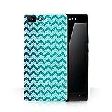 Hülle Für Oppo R5 Glitter Muster Effekt Aquamariner Blau Chevron Design Transparent Ultra Dünn Klar Hart Schutz Handyhülle Case