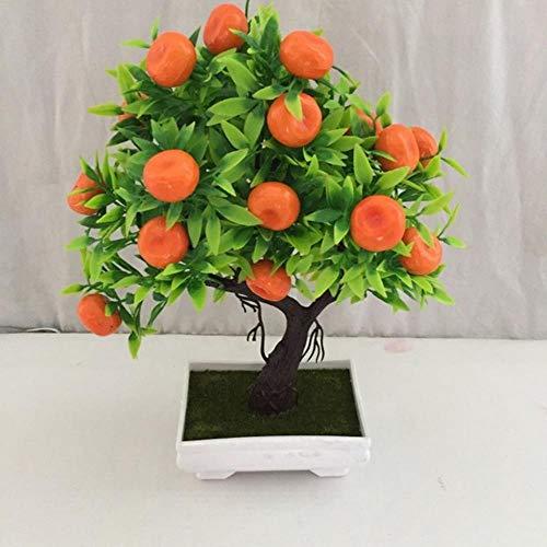 UIXIYIMG Künstliche Pflanze Bonsai Orange Kunststofftöpfe + Kleine Obstbaum Topf Für Zuhause Wohnzimmer Blume Set Shop Hotel Party Decor, Mandarinenbaum