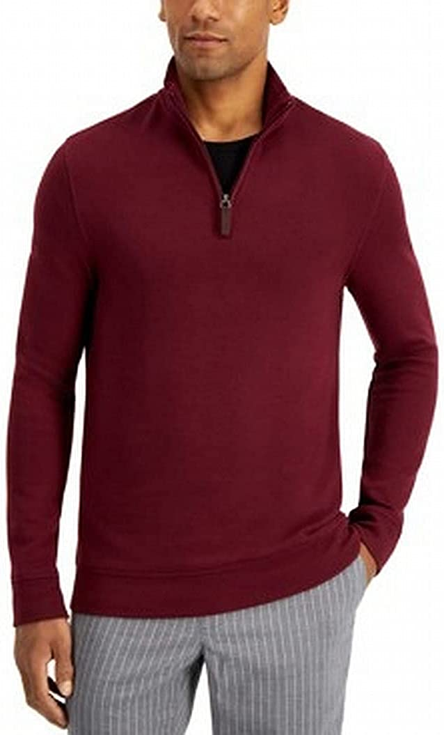 Max 89% OFF Tasso Elba Mens Sweater Max 84% OFF Quarter-Zip Pullover Red Solid Stretch X