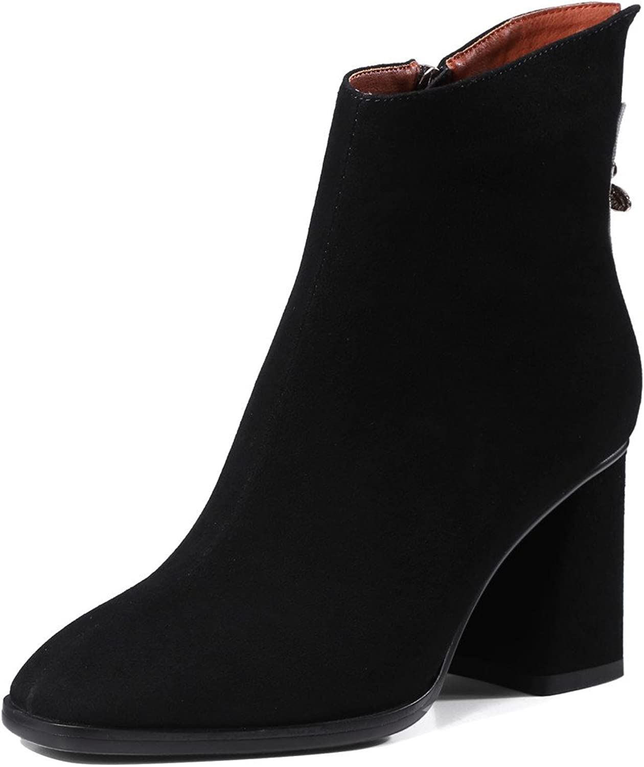 Nine Seven Suede Leather Women's Square Toe Chunky Heel Fashion Handmade Classic Ankle Boots