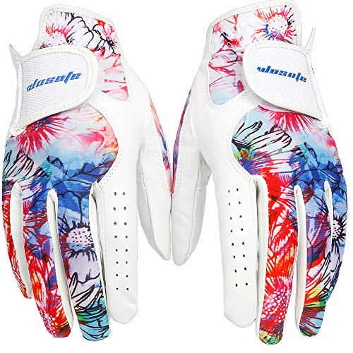 wosofe Golf Glove Women Pair Cool Leather Both Hand Summer Floral Colorful Breathable XL Sport Gloves