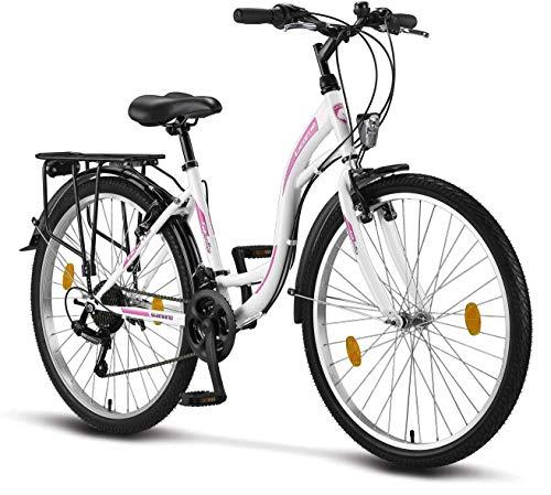 Licorne Bike Stella (Weiss) 26 Zoll Damenfahrrad, CTB ab 145 cm, Fahrrad-Licht, Shimano 21 Gang-Schaltung, Damen-Citybike, Mädchen-Citybike, Mädchenfahrrad