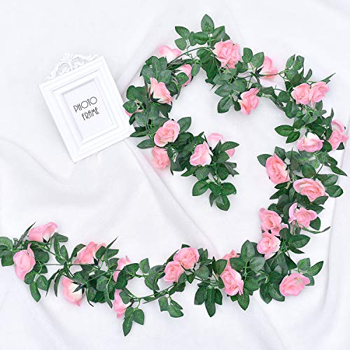 Whaline 2 Pack Fake Rose Vine Flowers Plants, 15ft Pink Artificial Flower Hanging Rose Garlands, for Home Hotel Office Wedding Party Garden Craft Art Decor, Arch Arrangement Decoration