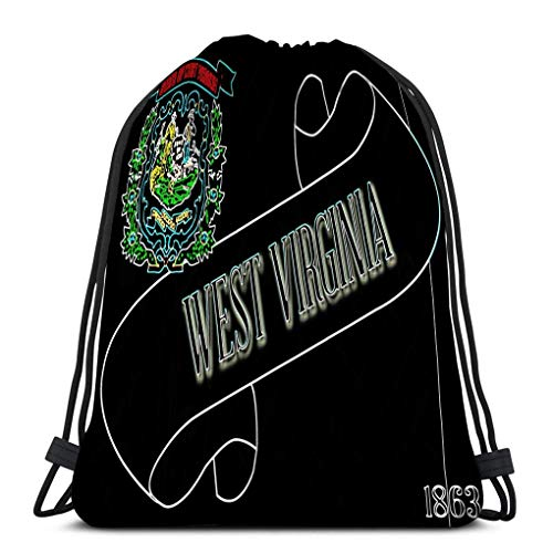 Lsjuee Drawstring Rucksack Tasche Leichte Gym Travel Yoga Casual Snackpack Umhängetasche zum Wandern Schwimmen Scroll Text West Virginia Flagge Zustand Detail West Virginia Scroll