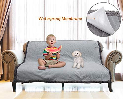 Catalonia wasserdichte Decke, Liquid Pee Proof Decke für Bett Couch Sofa, Protector Cover für Baby, gemütliche Sherpa Futter Würfe und Decken für Camping Bootfahren 203 x 152 cm, Lt Grau
