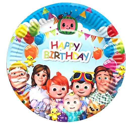 Cocomelon - Platos de fiesta de cumpleaños para 1er niños y parrillas para 30 invitados (7 pulgadas)