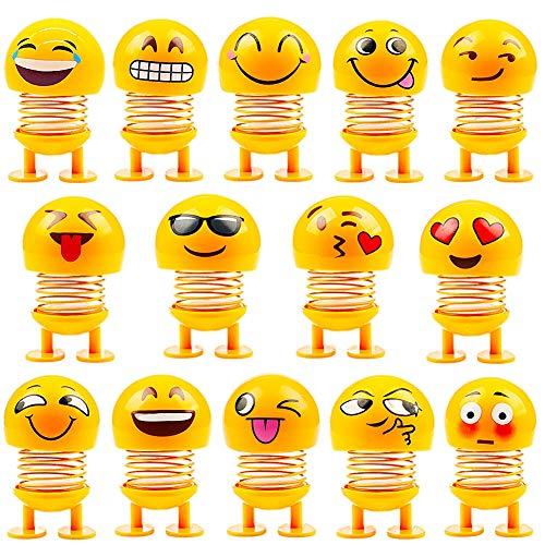 JPYH 14 Stücke Nette Emoji Wackelkopf Puppen, lustige Smiley Springs Tanzen Spielzeug für Auto Armaturenbrett Ornamente,Party Favors, Geschenke, Hauptdekorationen