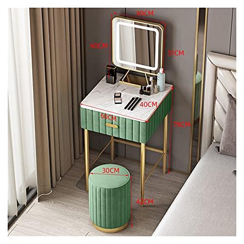 YSJJYQZ Tocador Tocador de mármol de Lujo Ligero Moderno Simple Mini Dormitorio Dormitorio Pequeño Tocador Familia con Espejo LED LED Y Taburete (Color : Green A03)