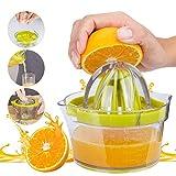 GHEART Presse-Citron Orange Manuel Presse Agrumes 4 en 1, Presse-Fruits, Presses à jus Professionnelles avec récipient 400ml, Lavable au Lave-Vaisselle, Ø 12,5 cm, mécanisme de Filtre Anti-Goutte