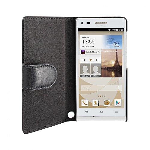 Artwizz SeeJacket Leather Handyhülle Designed für [Huawei Ascend P7 Mini] - Schutzhülle zum Aufklappen aus Leder mit Magnetverschluss - Schwarz