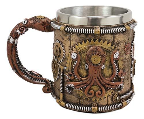 Ebros Brazen Steampunk Kraken Octopus Cyborg With Sculpted Robotic Gearwork Valves And Pipelines Beverage Drinkware Serveware Decorative Accent (Drinking Mug Cup)
