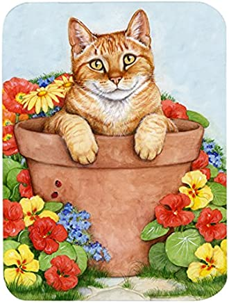 "Caroline's Treasures CDCO0395LCB""Ginger Cat in Pot by Debbie Cook"" Glass Cutting Board, Large, Multicolor"