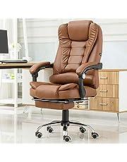 """XM&LZ Home Leather Executive Office Chair,Hoge Rug Ergonomische Computer Bureaustoel, Massage Task Stoel Met Lumbale Ondersteuning Voetsteun-Bruin 20x17x24"""""""