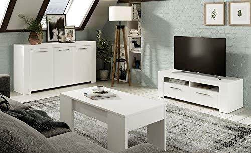 Miroytengo Pack Salon Comedor Zahara Color Blanco Conjunto de Muebles (Mueble TV+Mesa Centro+aparador)