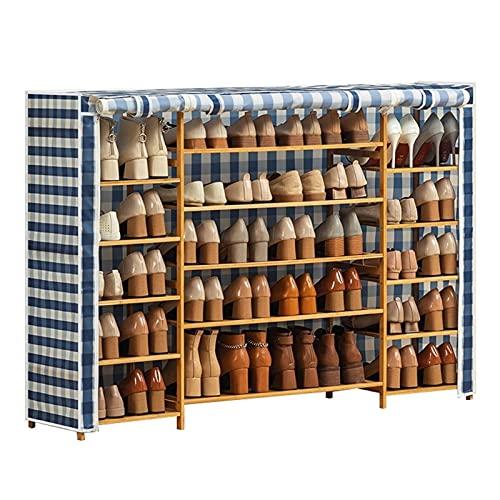 FOLA Zapatero de tela Oxford para zapatos, muebles simples, multifuncionales, gabinetes de almacenamiento de zapatos de bambú, plegable, con funda de tela para zapatos (color multicolor)