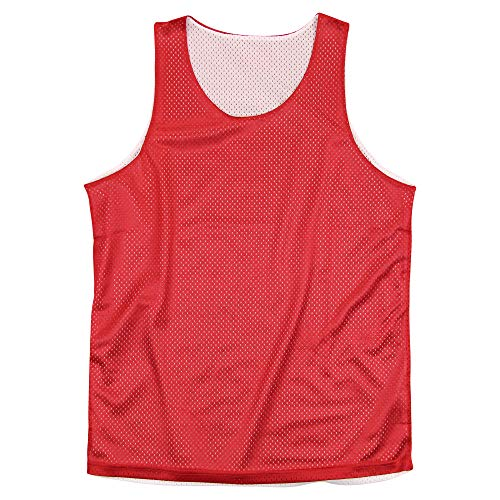 Reversible Basketball Jerseys Pinnies for Kids and Adults (Red/White, Adult Medium)
