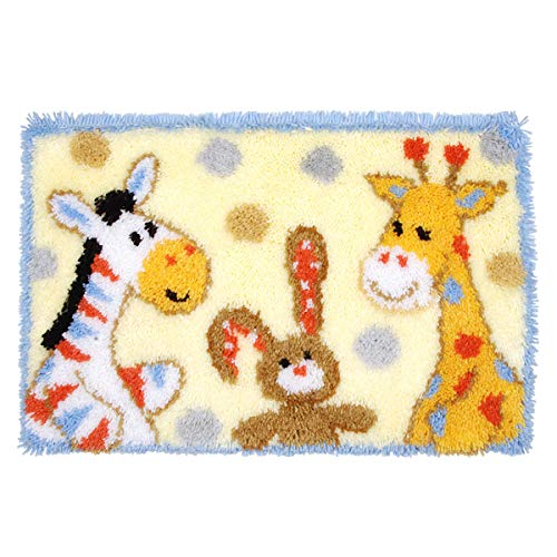 Latch Hook Rug Kits Carpet Making Cushion Needlework for Home Decor, Cartoon Animals, 60 X 40 cm (MD-006)