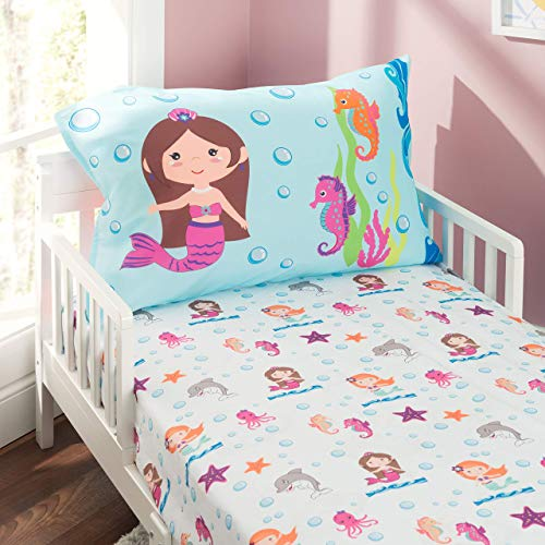 Everyday Kids Toddler Fitted Sheet and Pillowcase Set -Undersea Mermaids Adventure- Soft Breathable Microfiber Toddler Sheet Set
