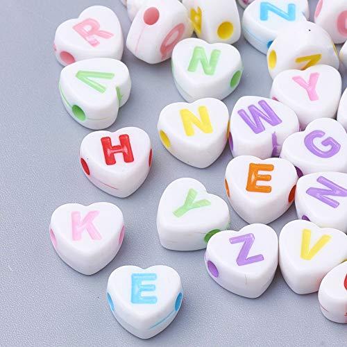 300 perline a forma di lettera in plastica bianca con lettere colorate A-Z 7 mm, per bracciali, choker, gioielli o altri lavori artigianali