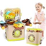 Detazhi Jugar Casa 3 en 1 Juguete Juego Cocina Comida for niños Pretend Play Toy Toy Utensilios de Cocina Juego de Herramientas Trolley Equipaje con luz y Sonido Regalos for niños