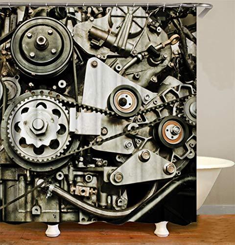ZZZdz mechanische tandwielen en kettingen. Waterdicht. Eenvoudig te reinigen. 12 vrije haken. 3D Hd-druk. Verbleekt niet. Douchegordijn 180 x 180 cm.