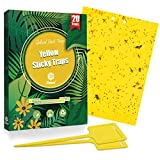 Gideal 20-Pack Dual-Sided Yellow Sticky Traps for Flying Plant Insect Such as Fungus Gnats, Whiteflies, Aphids, Leafminers,Thrips - (6x8 Inches, Included 20pcs Twist Ties)