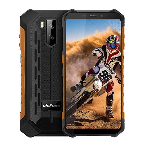 Ulefone Armor X5 (2020) 4G Android 10 Outdoor Handy Smartphones, 32GB Speicher 3GB RAM 5000mAh Akku Smart Button wasserdichte Kamera, Unterwassermodus, 5,5 Zoll, Face WiFi GPS FM Orange