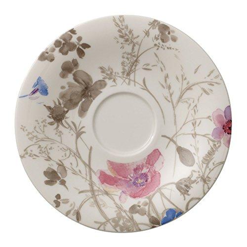 Villeroy & Boch Mariefleur Gris Tee-Untertasse, Geschirr aus hochwertigem Premium in Grau, Blau und Lila, 16 cm Teeuntertasse, Porzellan, 16 x 16 x 2 cm,