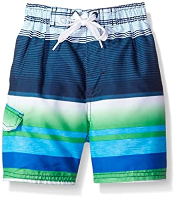Kanu Surf Boys' Toddler Echo Quick Dry UPF 50+ Beach Swim Trunk, Victor Navy/Green, 3T