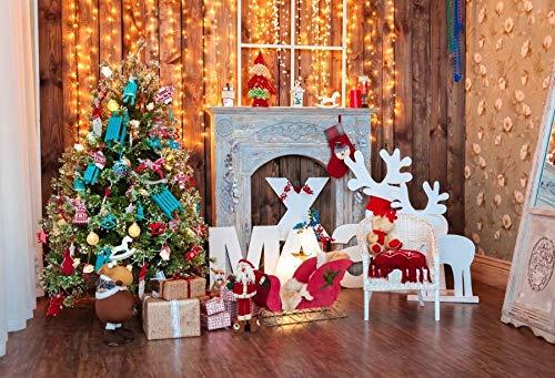 Fondos de Invierno Árbol de Nieve de Navidad Papá Noel Ciervos Regalo Linterna Regalo para niños Fondos de Pino Photocall para Estudio fotográfico A10 2.1x1.5m