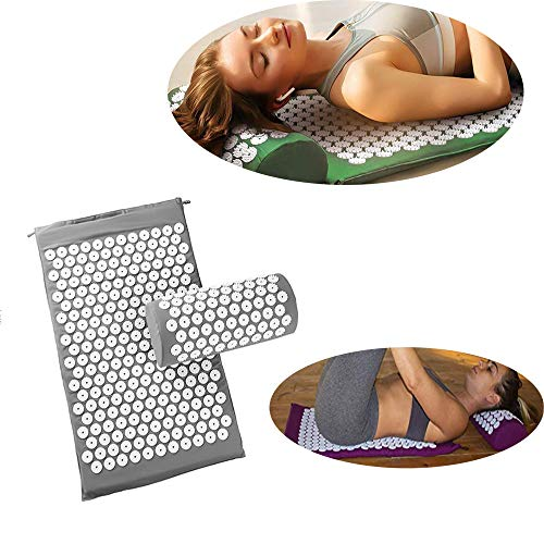 WXH Best Acupressure Mat and Pillow Massage Set, Acupressure Mat and Pillow Set, Reflexology Mat Acupuncture Mat Gift, Back and Neck Pain Relief