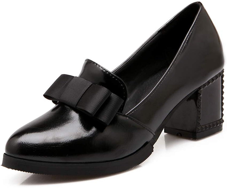 Beautiful - Fashion Women's Pointed Toe Loafer Pump Bow Platform Chunky Mid Heel Fashion Uniform Dress Oxfords shoes