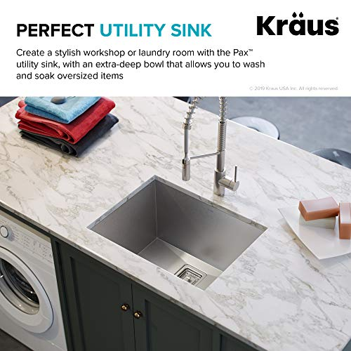 KRAUS Pax 24-inch 18 Gauge Undermount Single Bowl Stainless Steel Laundry and Utility Sink, KHU24L